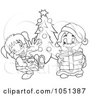 Royalty Free Vector Clip Art Illustration Of An Outline Of Kids At Christmas
