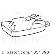 Royalty Free Vector Clip Art Illustration Of An Outline Of Chicken In A Pan