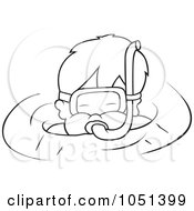 Royalty Free Vector Clip Art Illustration Of An Outline Of A Boy Snorkeling by dero