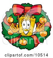 Yellow Admission Ticket Mascot Cartoon Character In The Center Of A Christmas Wreath