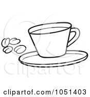 Royalty Free Vector Clip Art Illustration Of An Outline Of A Coffee Cup With Beans by dero