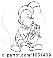 Royalty Free Vector Clip Art Illustration Of An Outline Of A Bug Playing A Saxophone