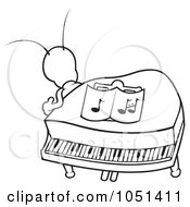 Royalty Free Vector Clip Art Illustration Of An Outline Of A Bug In A Piano