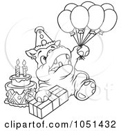 Outline Of A Birthday Party Hippo