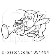 Royalty Free Vector Clip Art Illustration Of An Outline Of A Bug Playing A Trumpet