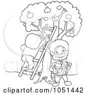 Royalty Free Vector Clip Art Illustration Of An Outline Of Kids Picking Fruit