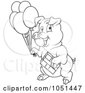 Royalty Free Vector Clip Art Illustration Of An Outline Of A Birthday Party Pig by dero