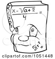 Royalty Free Vector Clip Art Illustration Of An Outline Of A Math Book