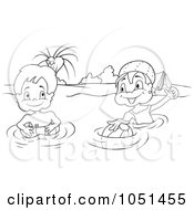 Royalty Free Vector Clip Art Illustration Of An Outline Of Kids Swimming