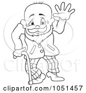 Royalty Free Vector Clip Art Illustration Of An Outline Of A Friendly Grandpa by dero