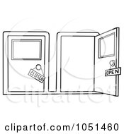 open and closed door clipart. Royalty Free Vector Clip Art Illustration Of An Outline Open And Closed Doors Door Clipart A