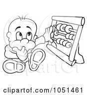 Royalty Free Vector Clip Art Illustration Of An Outline Of A Baby Using An Abacus by dero