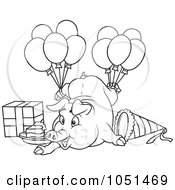 Outline Of A Birthday Pig