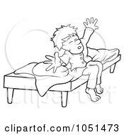 Royalty Free Vector Clip Art Illustration Of An Outline Of A Boy Waking Up