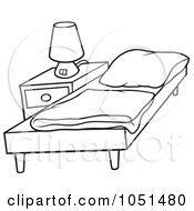Royalty Free Vector Clip Art Illustration Of An Outline Of A Bed And Night Stand
