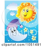 Royalty Free Vector Clip Art Illustration Of A Happy Sun Moon And Stars In The Sky