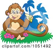 Royalty-Free Vector Clip Art Illustration of a Monkey Sitting And Eating A Banana Near Palm Trees by visekart