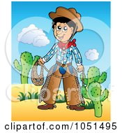 Royalty Free Vector Clip Art Illustration Of A Cowboy Holding Rope In A Desert