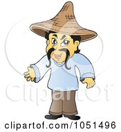 Royalty Free Vector Clip Art Illustration Of An Asian Tradesman Wearing A Hat by visekart