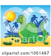 Royalty Free Vector Clip Art Illustration Of A Happy Apatosaurus In A Tropical Landscape by visekart