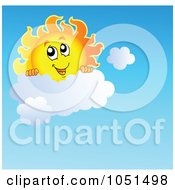 Royalty Free Vector Clip Art Illustration Of A Happy Sun Looking Over A Cloud