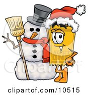 Yellow Admission Ticket Mascot Cartoon Character With A Snowman On Christmas