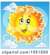 Royalty Free Vector Clip Art Illustration Of A Happy Sun In A Sky With Clouds In The Background