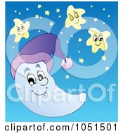 Royalty Free Vector Clip Art Illustration Of A Happy Moon And Stars In The Sky