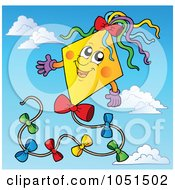 Royalty Free Vector Clip Art Illustration Of A Happy Kite In A Blue Sky