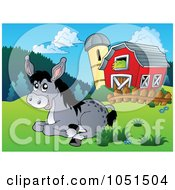 Royalty Free Vector Clip Art Illustration Of A Donkey Resting Near A Barn And Silo by visekart