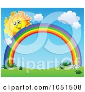 Royalty Free Vector Clip Art Illustration Of A Happy Sun Peeking Over A Rainbow In A Spring Landscape
