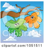 Royalty Free Vector Clip Art Illustration Of Green And Orange Happy Leaves On A Branch