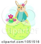 Happy Bunny On A Green Globe