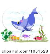 Royalty Free Vector Clip Art Illustration Of A Purple Shark And Fish