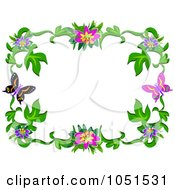 Royalty Free Vector Clip Art Illustration Of A Floral Butterfly Frame 4
