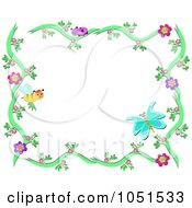 Bee And Butterfly Floral Frame