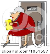 Senior Office Woman Carrying A Document And Trailing Toilet Paper From The Restroom
