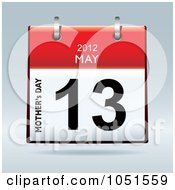 Royalty Free Vector Clip Art Illustration Of A 3d Mothers Day May 13 2012 Flip Desk Calendar by michaeltravers