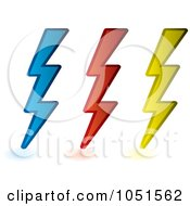 Royalty Free Vector Clip Art Illustration Of A Digital Collage Of Blue Red And Yellow Lightning Bolts by michaeltravers