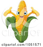 Royalty Free Vector Clip Art Illustration Of A Happy Corn Character by Pushkin