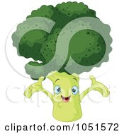 Royalty Free Vector Clip Art Illustration Of A Happy Broccoli Character by Pushkin