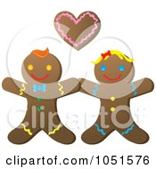 Royalty Free Vector Clip Art Illustration Of A Happy Gingerbread Couple by Rosie Piter