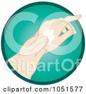 Royalty Free Vector Clip Art Illustration Of A Caucasian Woman Rubbing In Hand Lotion by Rosie Piter