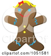Royalty Free Vector Clip Art Illustration Of A Happy Gingerbread Woman