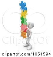 Poster, Art Print Of 3d White Person Holding A Pile Of Colorful Puzzle Pieces
