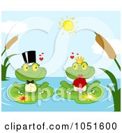Royalty Free Vector Clip Art Illustration Of A Frog Bride And Groom On A Pond