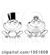 Royalty Free Vector Clip Art Illustration Of An Outline Of A Frog Bride And Groom