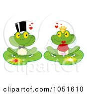 Royalty Free Vector Clip Art Illustration Of A Frog Bride And Groom On Lily Pads
