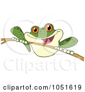 Royalty Free Vector Clip Art Illustration Of A Green Frog On A Twig by Hit Toon