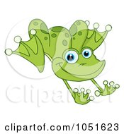 Royalty Free Vector Clip Art Illustration Of A Leaping Green Frog by Hit Toon #COLLC1051623-0037